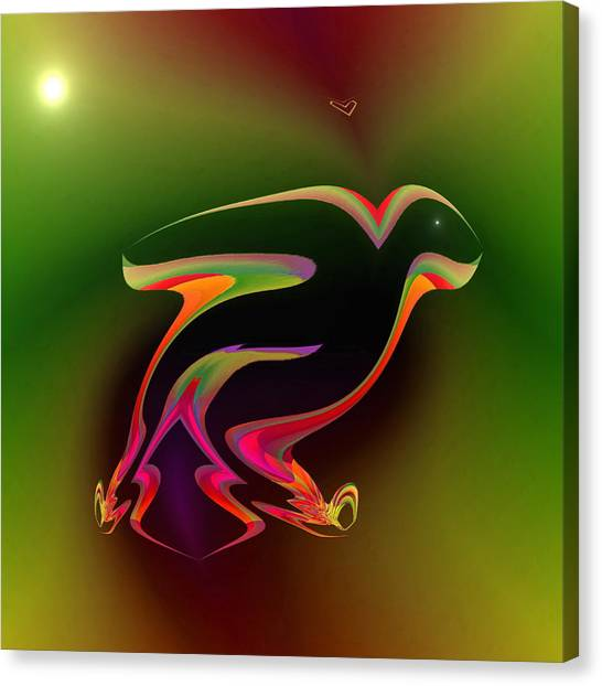 Canvas Print featuring the digital art The Parrot And The Butterfly by Visual Artist Frank Bonilla
