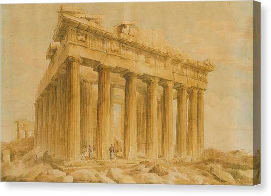 The Acropolis Canvas Print - The Parthenon From The Northwest by Giovanni Battista Lusieri