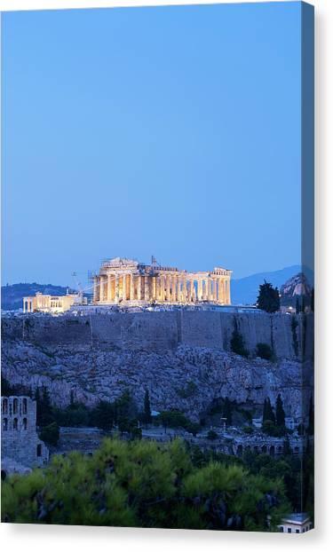 The Parthenon Lit At Night Canvas Print