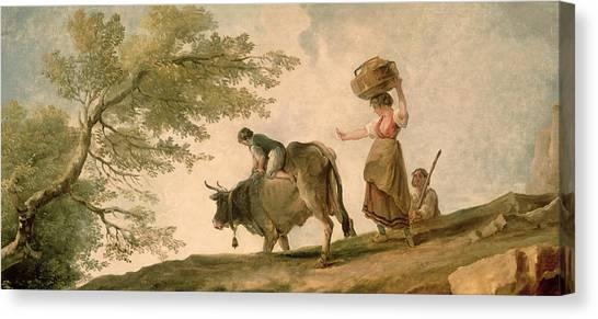 Bull Riding Canvas Print - The Pasture by Hubert Robert