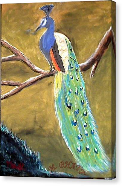 The Peacock-2 Canvas Print by M bhatt