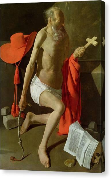 Red Knot Canvas Print - The Penitent St Jerome  by Georges de la Tour