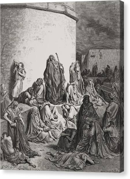 Holy Bible Canvas Print - The People Mourning Over The Ruins Of Jerusalem by Gustave Dore