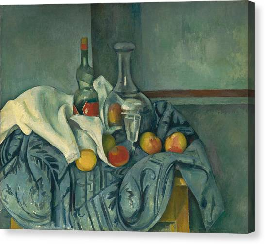 Post-impressionism Canvas Print - The Peppermint Bottle by Paul Cezanne