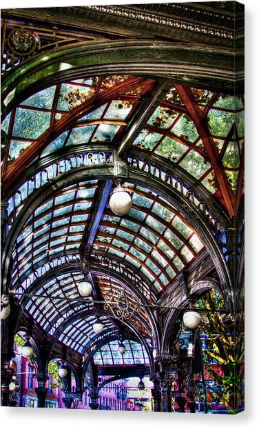 The Pergola Ceiling In Pioneer Square Canvas Print