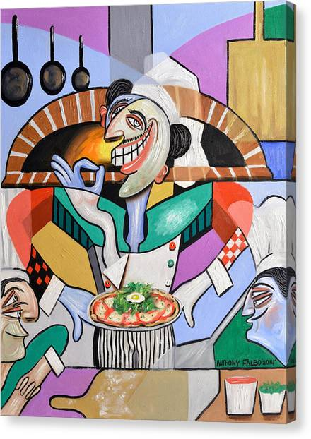 Canvas Print featuring the painting The Personal Size Gourmet Pizza by Anthony Falbo