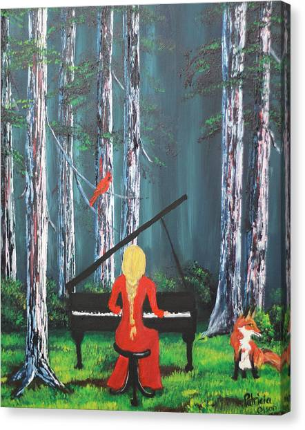 The Pianist In The Woods Canvas Print