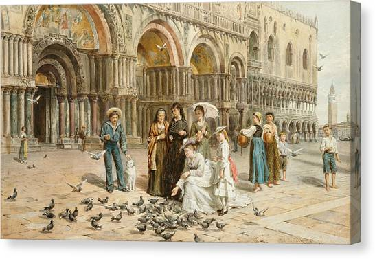 Pigeons Canvas Print - The Pigeons Of St Mark S by George Goodwin Kilburne