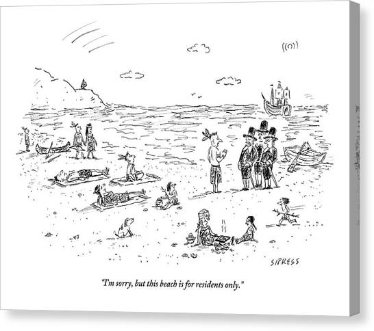 The Pilgrims Arrive At A Native American Beach Canvas Print