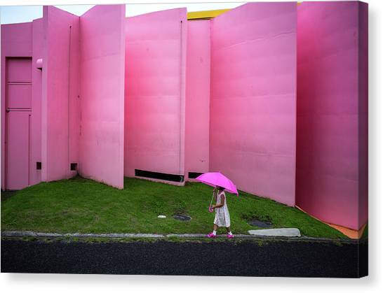 Street Canvas Print - The Pink Color World by Tetsuya Hashimoto