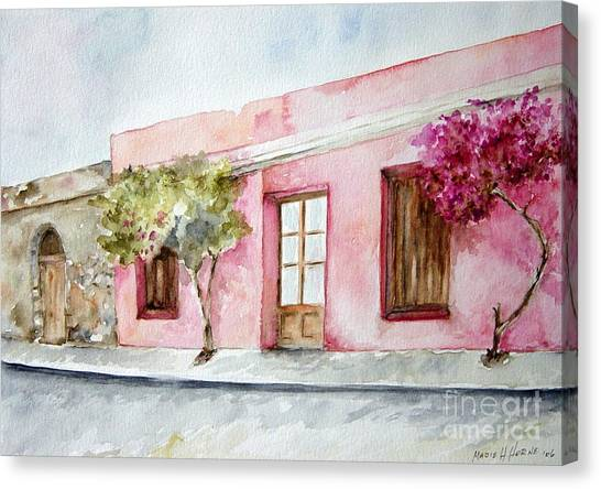 The Pink House In Colonia Canvas Print