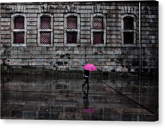 The Pink Umbrella Canvas Print