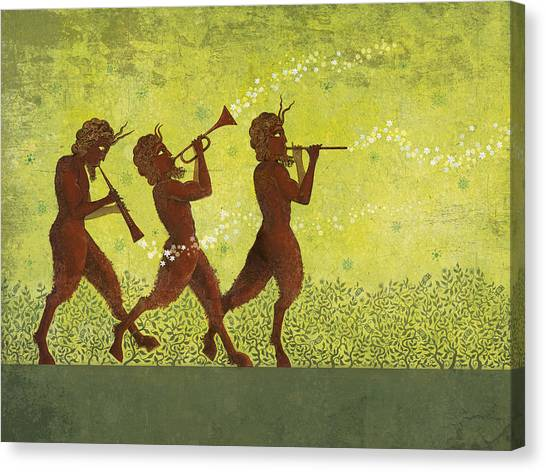 Trumpets Canvas Print - The Pipers 3 by Dennis Wunsch