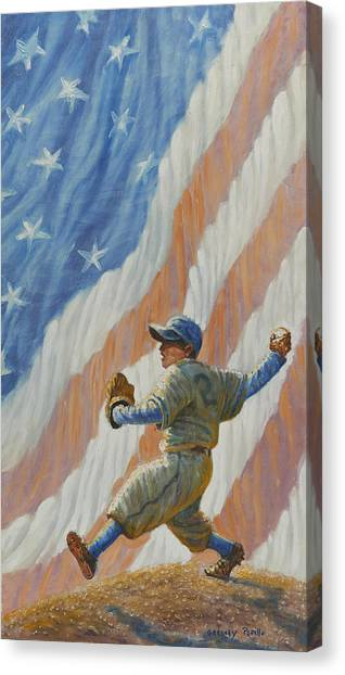 Strikeout Canvas Print - The Pitcher by Gregory Perillo