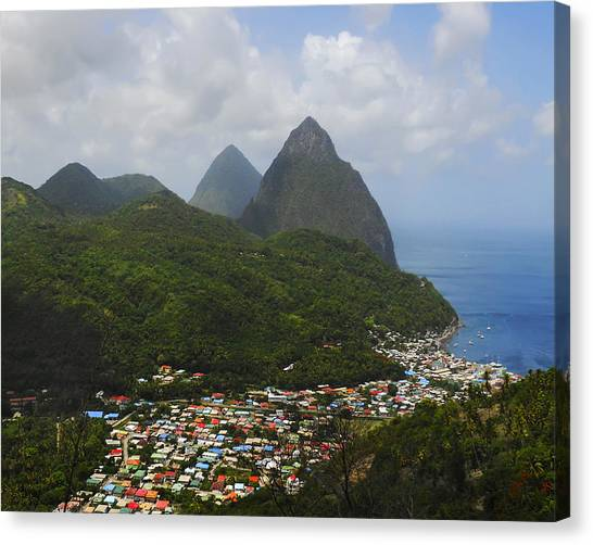 The Pitons And Soufriere Canvas Print