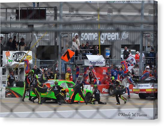 Danica Patrick Canvas Print - The Pits by Wendy Hansen-Penman
