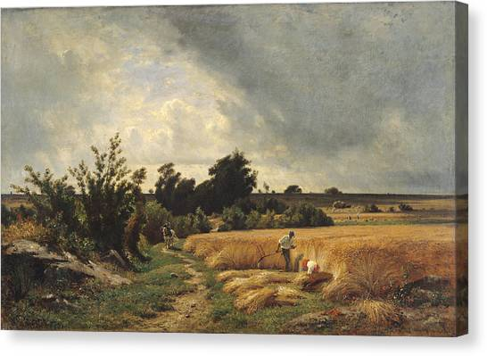 Rainclouds Canvas Print - The Plateau Of Ormesson - A Path Through The Corn Oil On Canvas by Francois Louis Francais