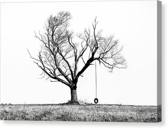 The Playmate - Old Tree And Tire Swing On An Open Field Canvas Print