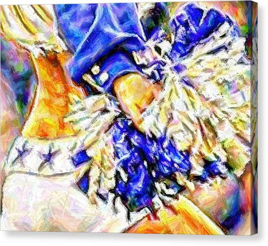 Dallas Cowboys Cheerleaders Canvas Print - The Pom by Carrie OBrien Sibley