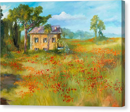 The Poppy Fields Of Tuscany Valley Canvas Print by Jane Woodward