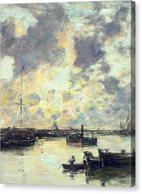 Sail Boats Canvas Print - The Port by Eugene Louis Boudin