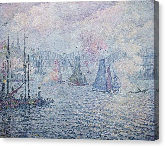 Pointillism Canvas Print - The Port Of Rotterdam, Or The Fumes by Paul Signac