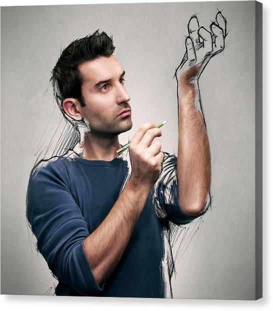 Creation Canvas Print - The Power Of The Sketch by Sebastien Del Grosso