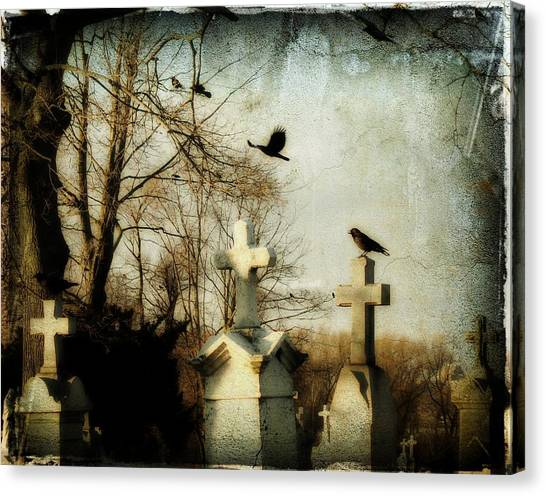 Ravens In Graveyard Canvas Print - The Prelude by Gothicrow Images