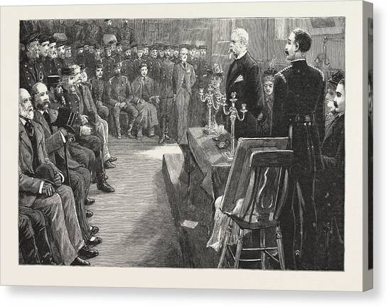 Metropolitan Division Canvas Print - The Presentation To Sir Eyre Massey Shaw by English School
