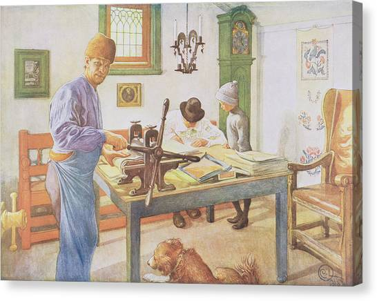 Printers Canvas Print - The Print Room, Pub. In Lasst Licht by Carl Larsson