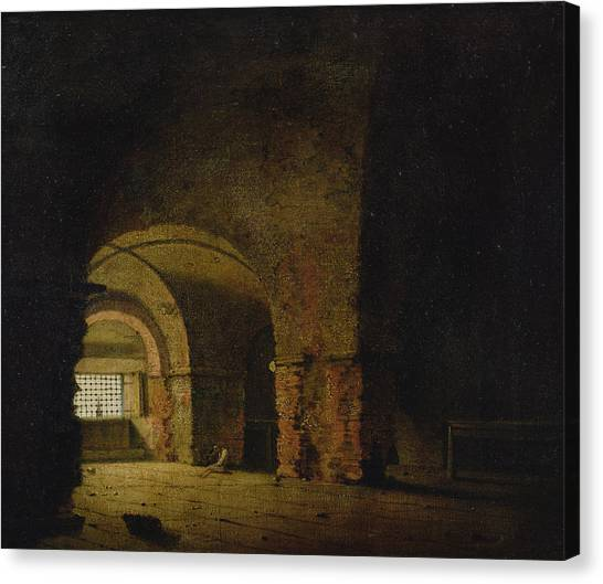 Dungeons Canvas Print - The Prisoner, C.1787-90 Oil On Canvas by Joseph Wright of Derby
