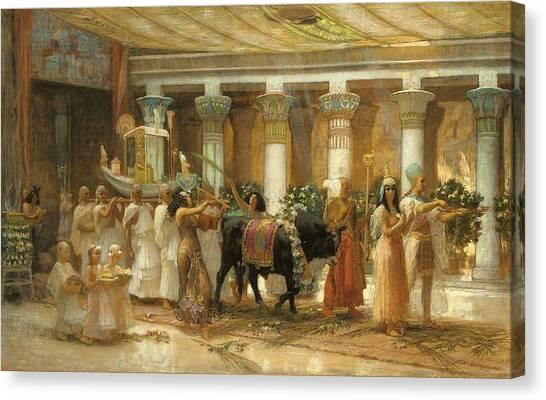 Egyptian Art Canvas Print - The Procession Of The Sacred Bull by Frederick Arthur Bridgman