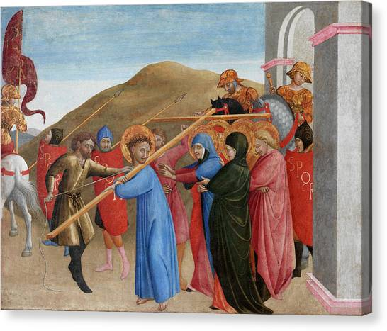 Messiah Canvas Print - The Procession To Calvary by Sassetta