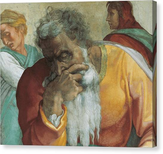 Chin Canvas Print - The Prophet Jeremiah by Michelangelo