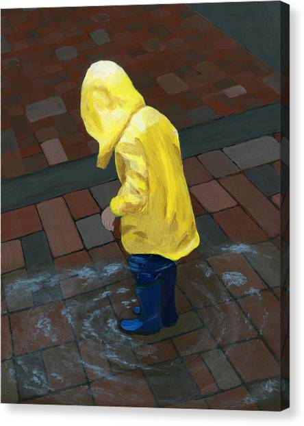 Pavers Canvas Print - The Puddle Jumper by Karyn Robinson
