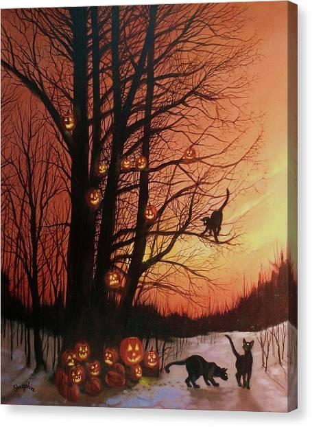 Halloween Canvas Print - The Pumpkin Tree by Tom Shropshire