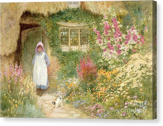 Foxglove Flowers Canvas Print - The Puppy by Arthur Claude Strachan