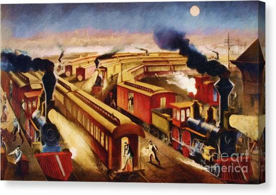 Train Conductor Canvas Print - The Railroad Junction - Circa 1880 by Lianne Schneider
