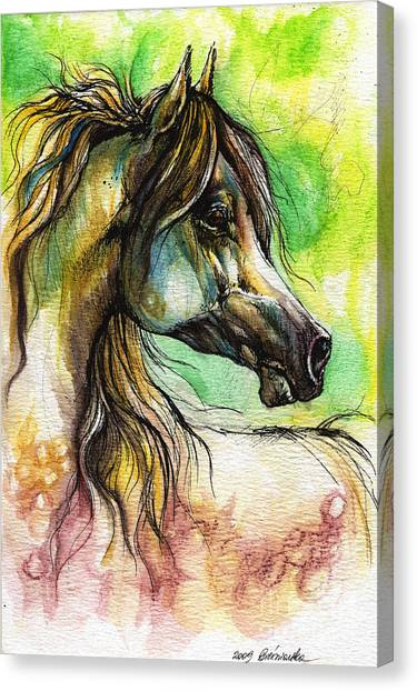 Rainbows Canvas Print - The Rainbow Colored Arabian Horse by Angel Ciesniarska