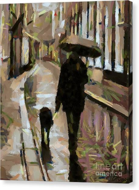 The Rainy Walk Canvas Print