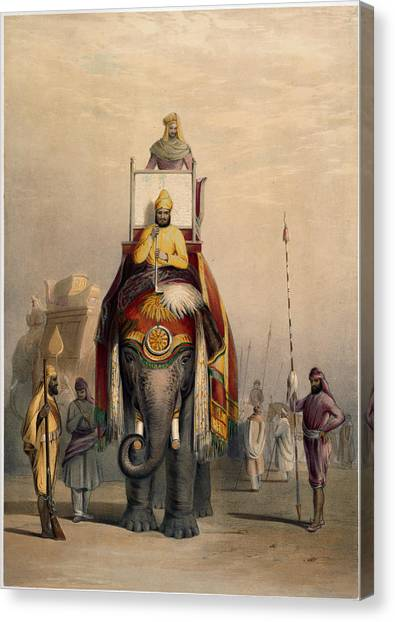 Royal Guard Canvas Print - The Rajah Of Putteealla by British Library