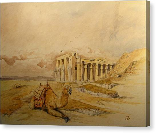 Camel Canvas Print - The Ramesseum Theban Necropolis Egypt by Juan  Bosco