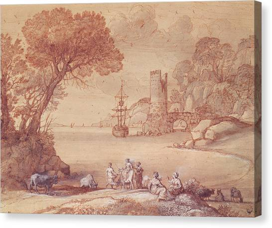 Bull Riding Canvas Print - The Rape Of Europa, 1655 Pen, Ink & Wash by Claude Lorrain