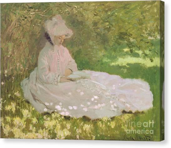 Lilac Bush Canvas Print - The Reader  by Claude Monet