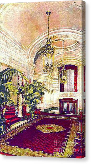 The Rector Hotel Lobby Staircase In 1910 Canvas Print by Dwight Goss