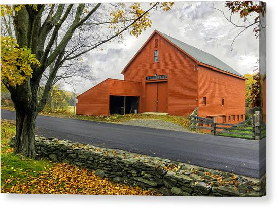 The Red Barn At The John Greenleaf Whittier Birthplace Canvas Print