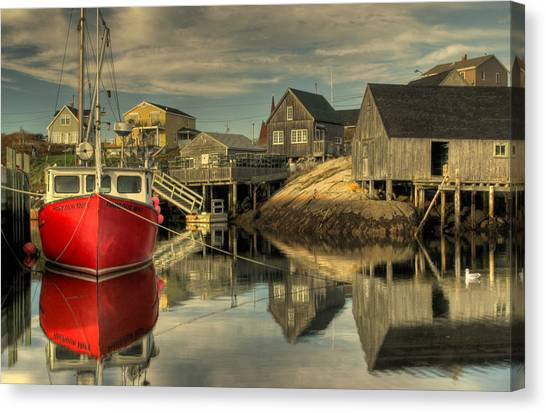 The Red Boat At Peggys Cove Canvas Print