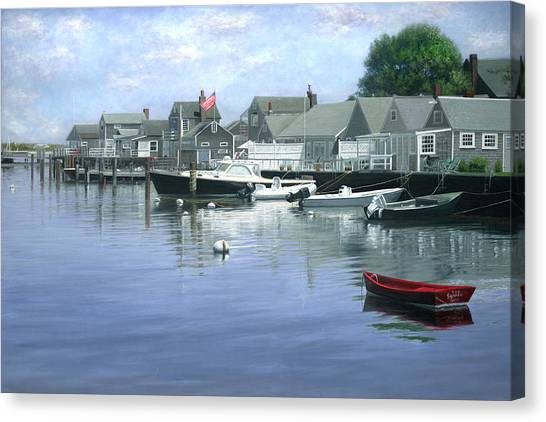 Marthas Vineyard Canvas Print - The Red Boat  Nantucket Harbor by Julia O'Malley-Keyes