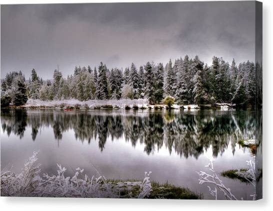 Grey Clouds Canvas Print - The Red Canoe by Donna Kennedy