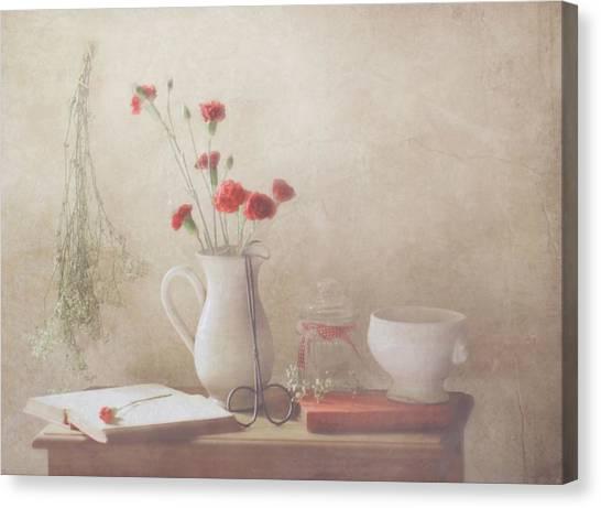 Romantic Flower Canvas Print - The Red Flowers by Delphine Devos